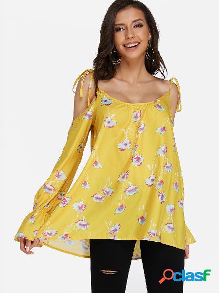 Blusa estampada de chita com ombro frio amarelo