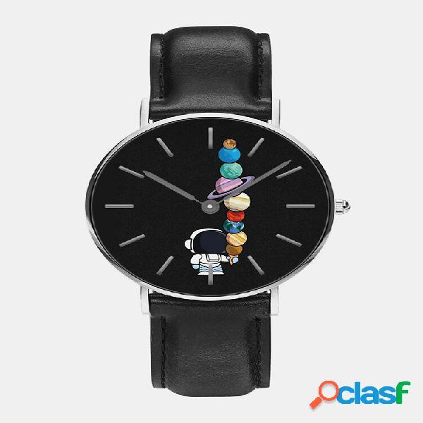 Relógio masculino de quartzo com impressão astronauta dos desenhos animados do planeta