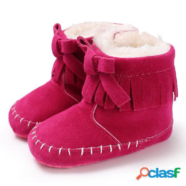 Sapatos de bebê para criança com borla bowknot decoração forro de pelúcia quente soft botas de neve