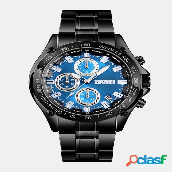 Relógio empresarial de aço inoxidável à prova d'água cronógrafo masculino relógios de quartzo