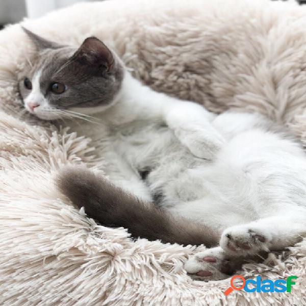 Cama de inverno quente para animais de estimação cachorro cama de gato longa de pelúcia super soft canil de cama redonda