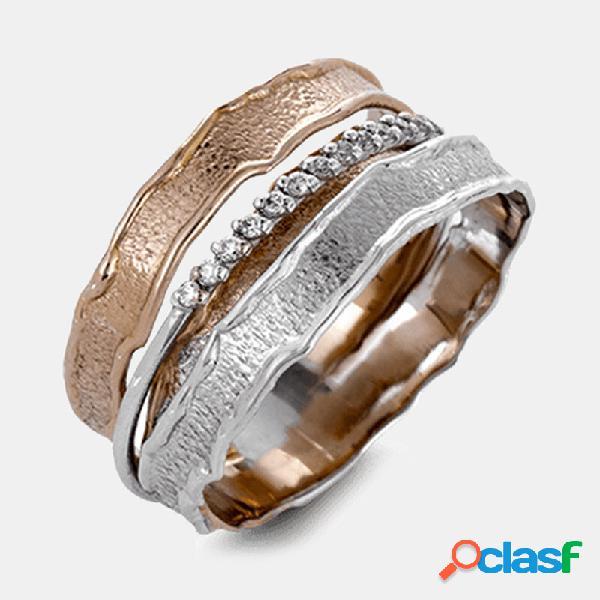 Hit vintage cor geométrica metal rhinestone ring anel de diamante de enrolamento multicamada chic jewelry