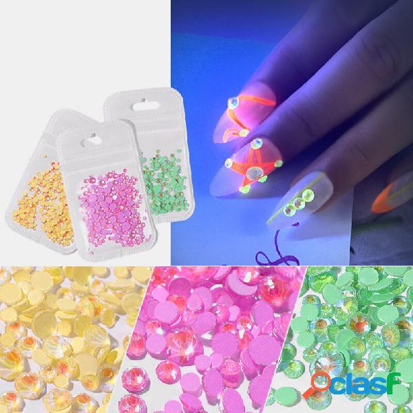 8 cores de cristal luminoso tamanho misto unhas decorações de strass art 3d manicure brilho diamante jewelly