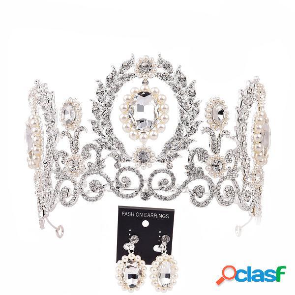 Barroco coroa tiara brincos conjunto de jóias de casamento nupcial headpieces headband prom