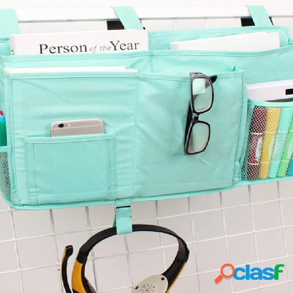 Cama multifuncional de pano oxford pendurada bolsa livro, papelaria, armazenamento de cabeceira