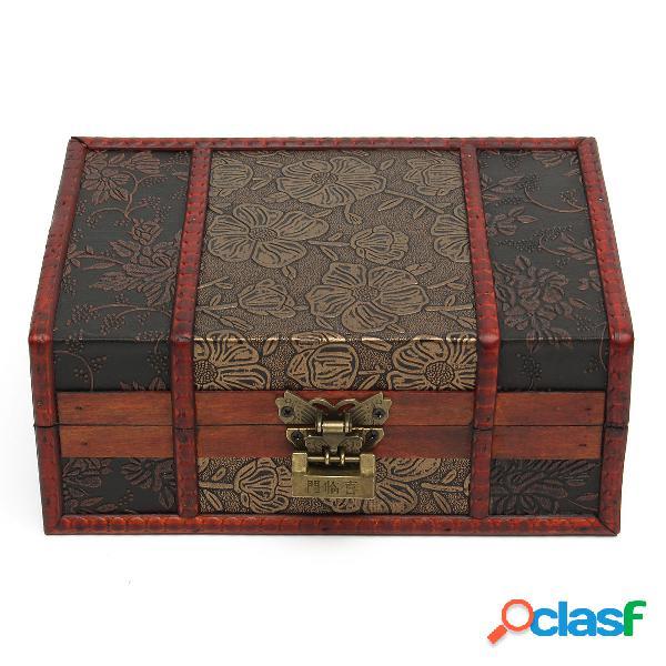 Vintage red box retro flower carved wooden jewelry presente colete box case holder