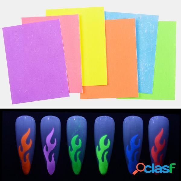 6 cores / kit chama fluorescente unhas adesivos manicure aurora auto-adesivo unhas art decals