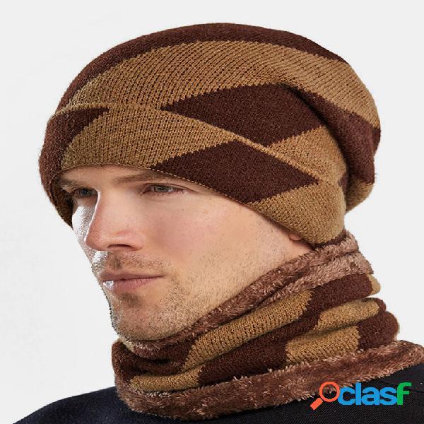 Masculino 2 pcs listrado plus veludo grosso inverno ao ar livre mantenha quente proteção do pescoço lenço de cabeça de m