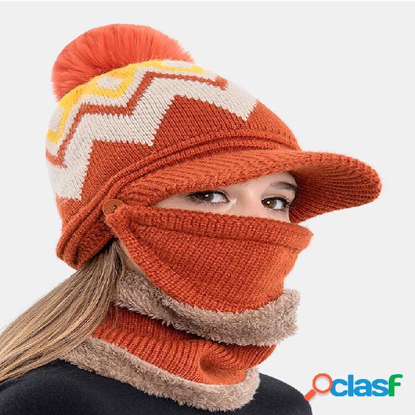 Mulheres 3pcs plus veludo grosso quente inverno ternos pescoço proteção facial malha chapéu cachecol máscara