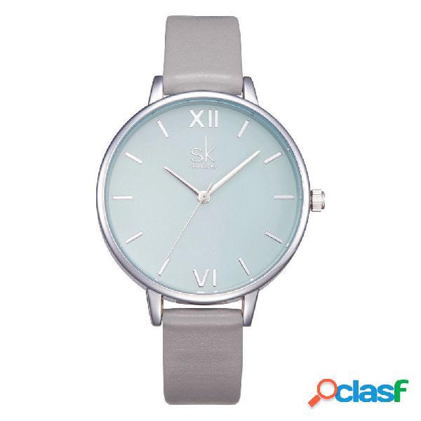 Trendy waterproof quartz watch couro simples rodada dial roman numeral relógio de pulso para as mulheres