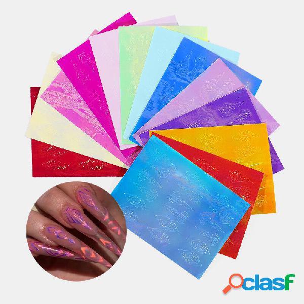 13 cor unhas kit de adesivos de chama 3d laser curva de diamante voltar gum manicure art stickers
