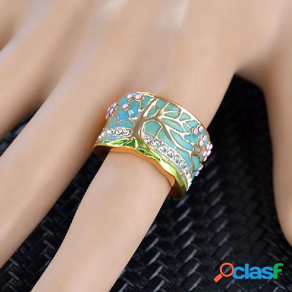 Anéis da árvore da vida geométrica vintage geométrica estereoscópica de metal strass anéis de dedo joias chiques