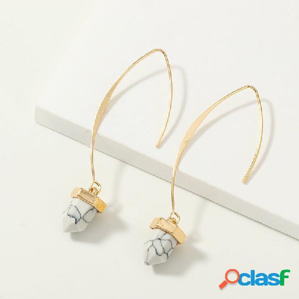 Na moda selvagem geométrico longo em forma de v brincos suporte de metal turquesa orelha drop brincos