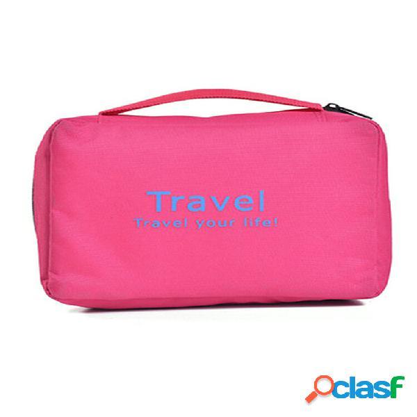 Nylon travel essential wash bolsa cosmético portátil à prova d'água bolsa
