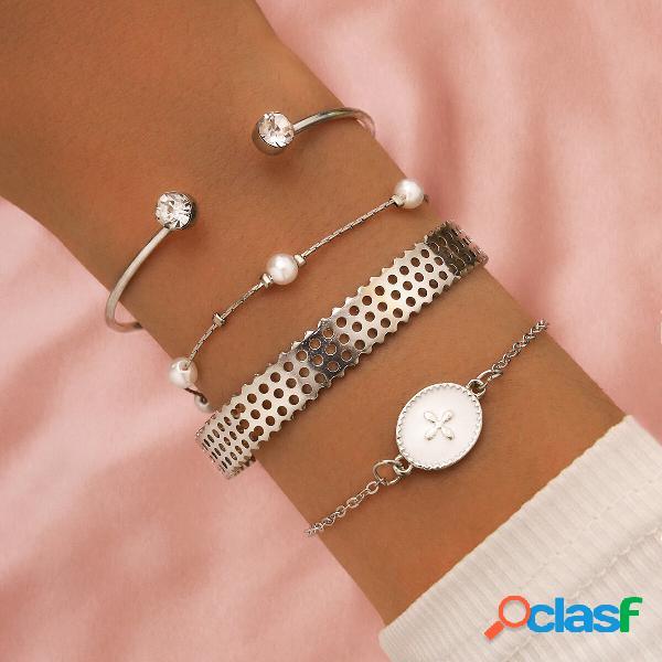 Temperamento do vintage pérola borla cruz geométrica pingente pulseira de corrente strass pulseira ajustável de várias c