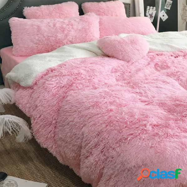 Conjunto de capa de cama de pelúcia com 200 cm de comprimento ultra soft conjunto de capa de cama infantil para adolesce
