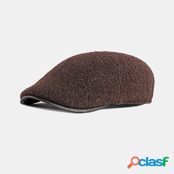 Homens feltro orelha proteção inverno exterior cor sólida casual universal plus boina engrossar chapéu tampa plana