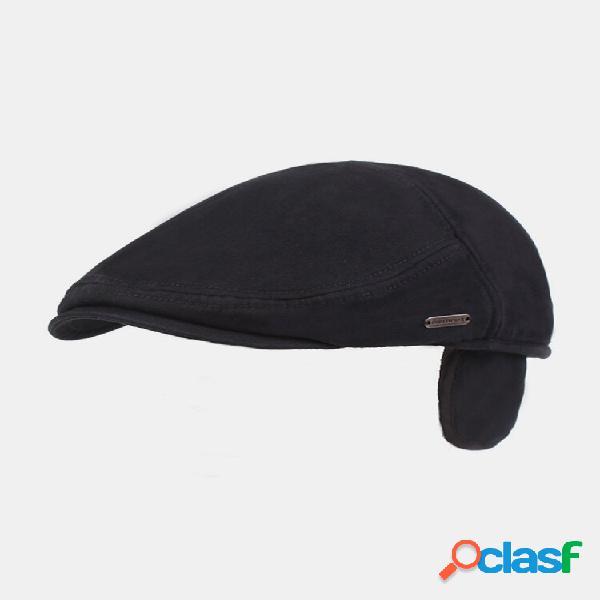 Homens orelha proteção inverno exterior cor sólida casual universal plus boina engrossar chapéu tampa plana