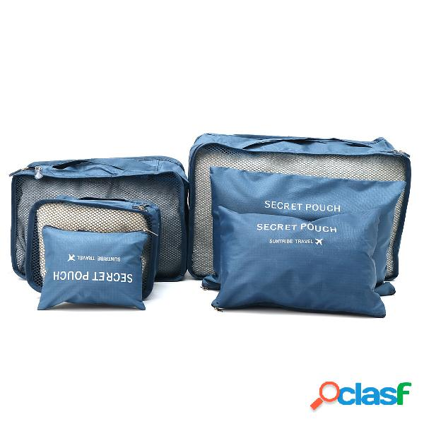 6peças bolsa portátil impermeável de armazenamento para viagem