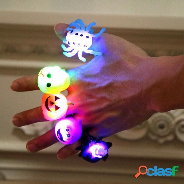 Desenhos animados anéis luminosos para o dia das bruxas bastão de abóbora crianças adulto brinquedos brilhantes anéis pr