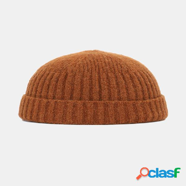 Lã tricotada de cor sólida masculina feminina chapéu caveira gorro sem aba chapéus