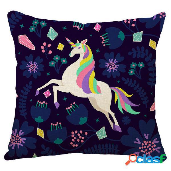Honana 45x45cm decoração para casa desenho animado unicórnio animal quadrado 12 padrões opcionais travesseiro caso