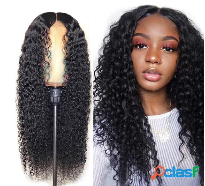 Natural preto de comprimento médio encaracolado cabelo franja longa resistente ao calor peruca