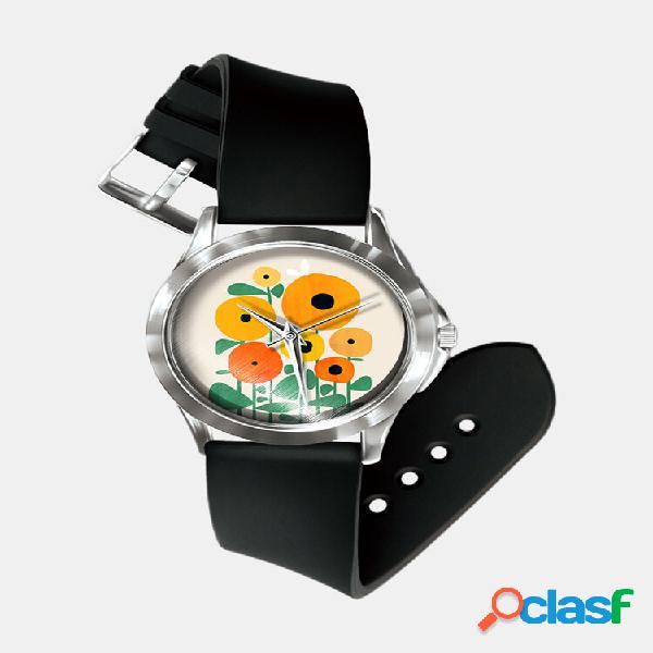 Relógio impresso em bloco de cores abstratas do impressionismo geométrico da moda