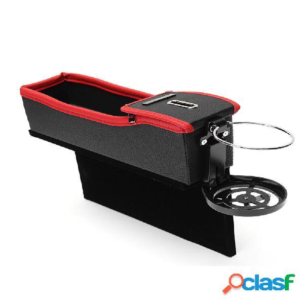 2 unidades de armazenamento de espaço para assento de carro bolsa moeda caixa porta-copos de bebidas em couro de flanela