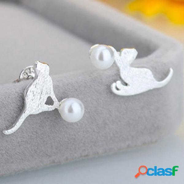 Gato escovado na moda brincos geométrico animal pérola orelha stud cute jewelry