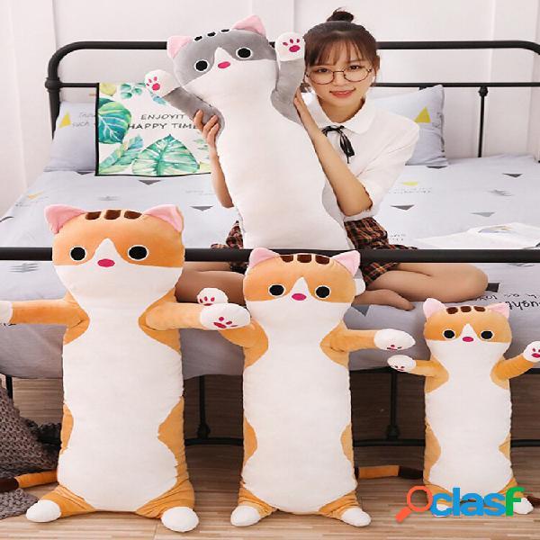 Animal doce gato longo algodão gato boneca pelúcia brinquedo soft travesseiro de dormir recheado desenho animado rechead