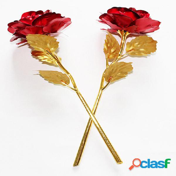 Flor rosa dourada 24k folha de ouro romântico presente do dia dos namorados