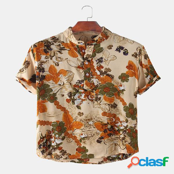 Mens floral impresso stand collar casual manga curta henley camisas