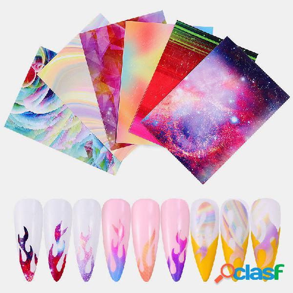 6 cor / kit colorful unhas adesivo laser dazzle flame unhas art transfer autocolantes autocolantes decalques