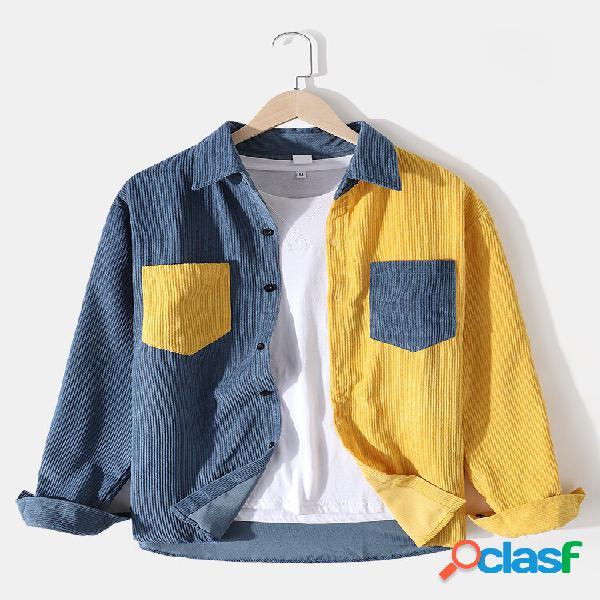 Camisas masculinas de veludo cotelê colorido patchwork casual de manga comprida com bolsos