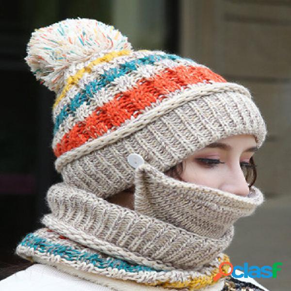 Feminino 3pcs listrado plus veludo grosso quente inverno ternos pescoço proteção facial malha chapéu lenço máscara