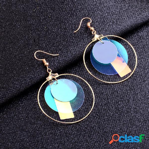 Lantejoulas irregulares na moda pingente brincos metal geométrico laser pingente stud brincos jóias chiques
