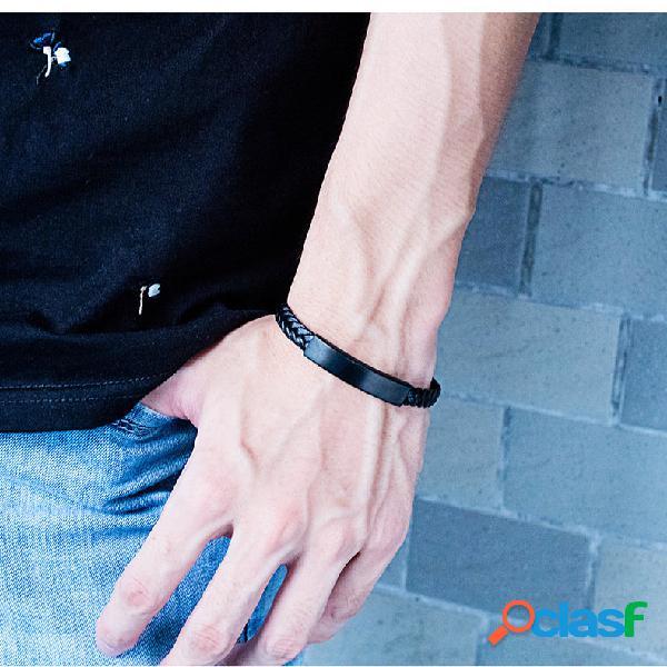 Na moda geométrico aço de titânio pingente pulseira homens de malha de couro pulseira jóias boêmia
