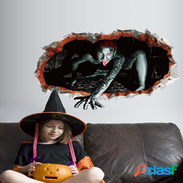 Decoração de adesivos de parede assustadores para festa de halloween removível decalques de parede em 3d bar mural sala