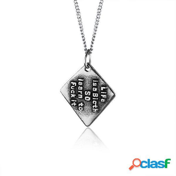 Diamante geométrico na moda pingente colar homens de aço de titânio colar vintage jóias