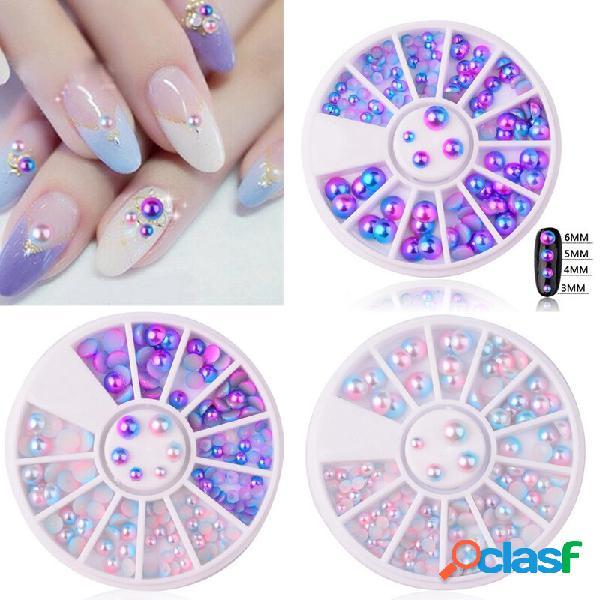 Mix size pearl nail art decoração mermaid gradient sinfonia charms beads wheel 3d dicas jóias mani