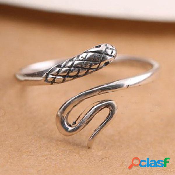 Anel vintage s925 de prata esterlina geométrica em forma de cobra de metal anel ajustável de abertura