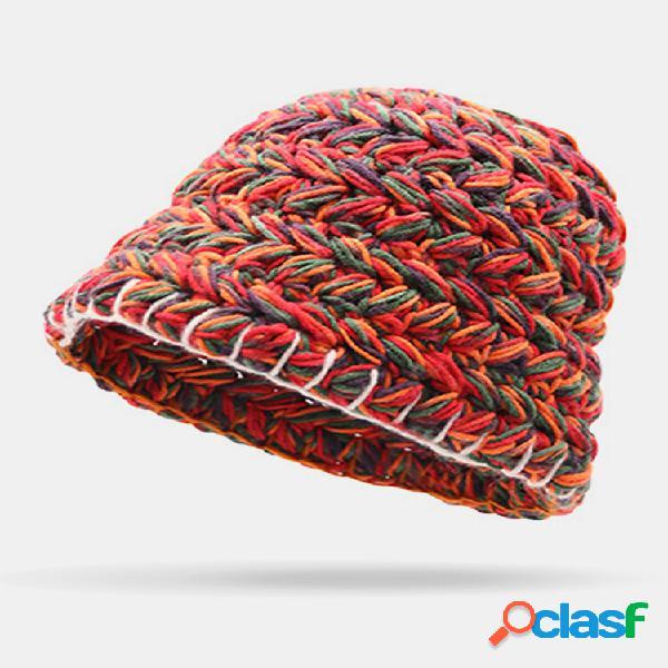 Balde de gorro feminino de lã cor do arco-íris orelha proteção casual quente chapéu