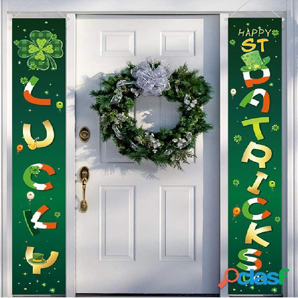 Banner do feliz dia de são patrício quintal interior externo irlandês decoração festa porta cortina festival atmosfera b