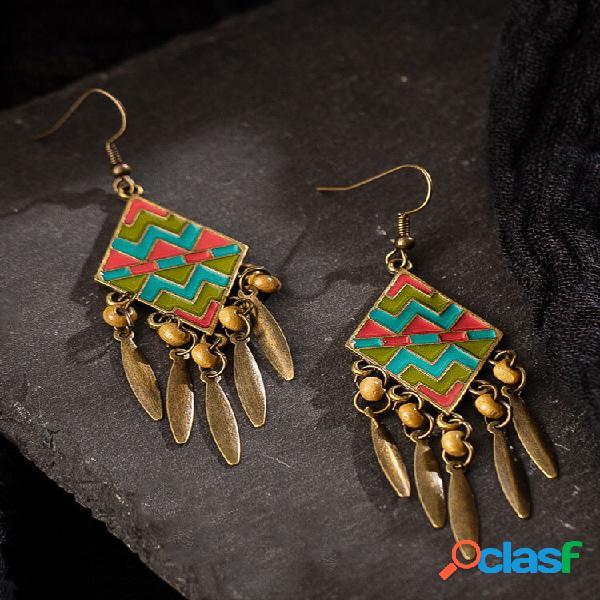 Borla de contas de madeira pingando bohemia brincos geométrico vintage padrão brincos