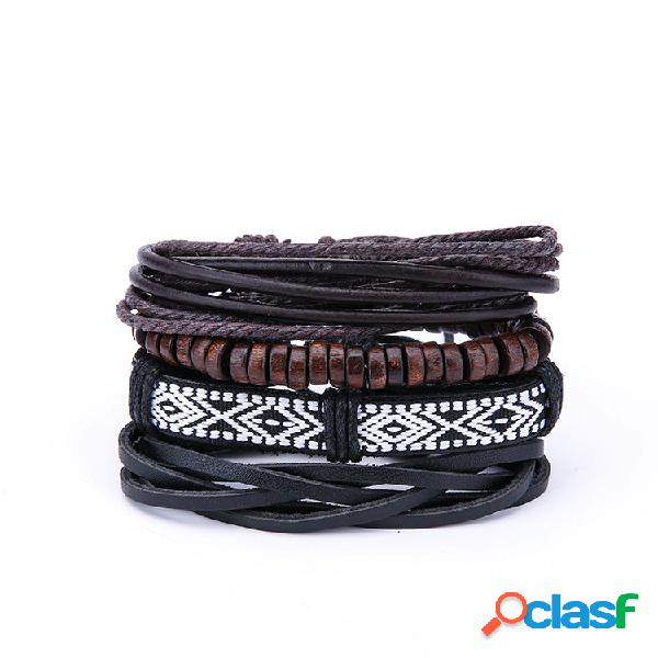 Mens vintage multilayer pulseiras de couro padrão geométrico boho rock madeira bead pulseiras para homens