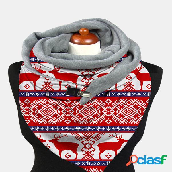 Xale feminino leve e elegante festivo de natal padrão com estampa de lenço quente espesso