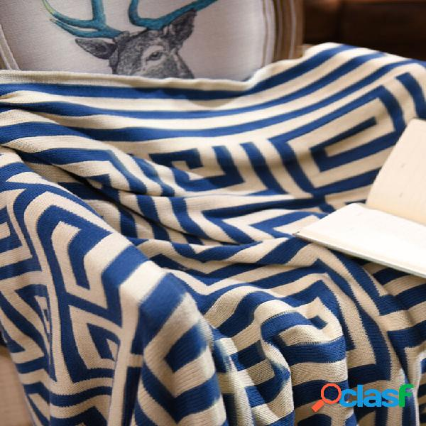 Algodão geométrico padrão manta de malha outono primavera soft manta de dormir capa de sofá manta manta de joelho