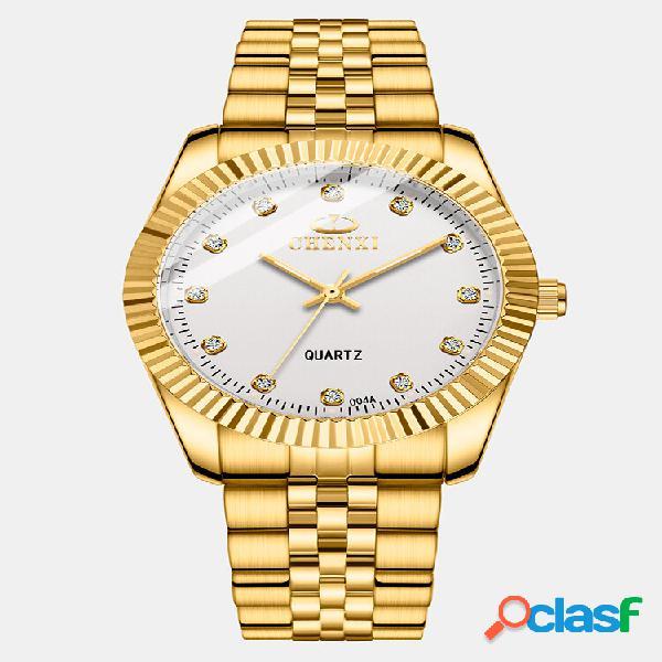 Relógio de negócios para casal ajustável relógio incrustado de diamantes com mostrador luminoso à prova d'água de quartz