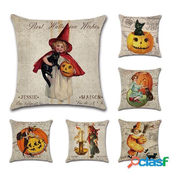 Bruxa dos desenhos animados abóbora padrão capa de almofada de linho sofá para casa decoração de arte de halloween
